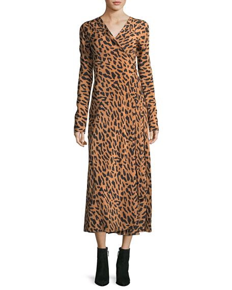 Long-Sleeve Midi Woven Silk Wrap Dress