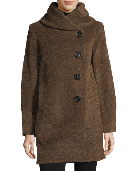 Sofia Cashmere Envelope-Collar Button-Front Wool-Blend Cocoon Coat