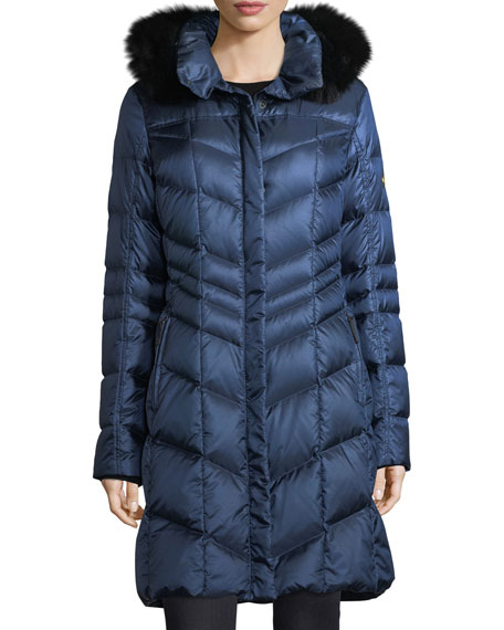 Delia Shiny Hooded Quilted Puffer Coat w/ Fox Fur