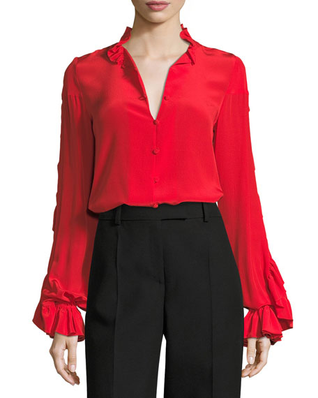 Alexis Rocio Silk Ruffle-Sleeve Top, Red