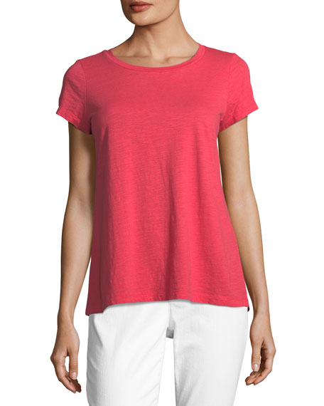 Slubby Short-Sleeve Cotton Tee, Plus Size