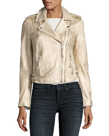 Leolani Metallic Leather Jacket