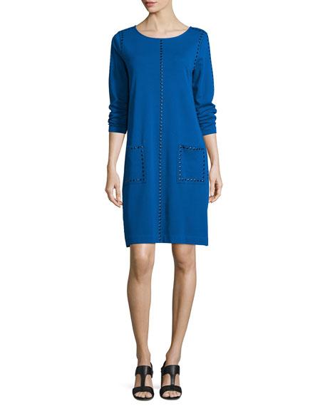 Long-Sleeve Embellished Shift Dress, Plus Size