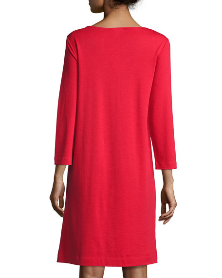 Long-Sleeve Embellished Shift Dress, Red, Petite
