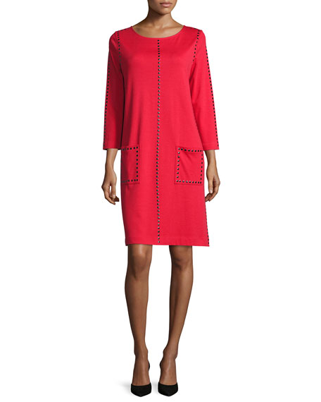 Joan Vass Long-Sleeve Embellished Shift Dress, Red, Petite