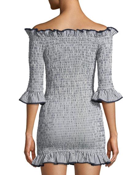 Salsita Off-the-Shoulder Smocked Ruffle Mini Dress
