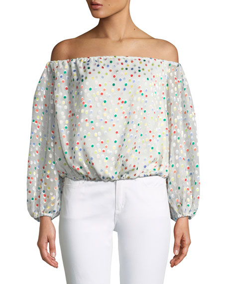 Oh Girl Off-the-Shoulder Dot-Print Top