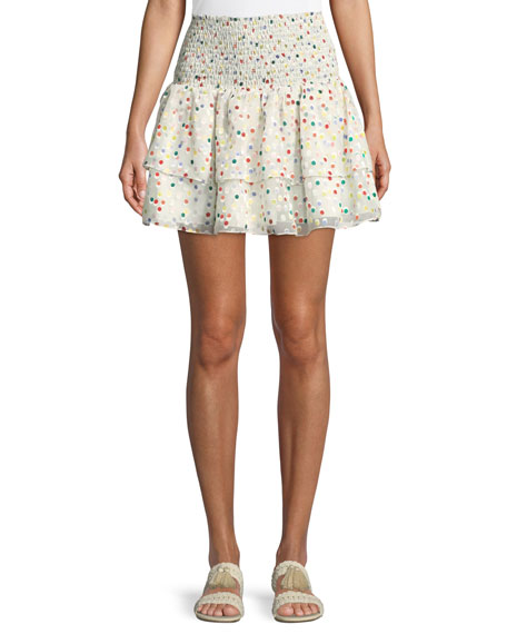 Flounce Dot-Print Smocked Mini Skirt