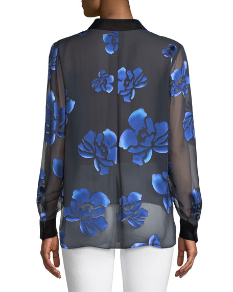 Martha Floral-Burnout Blouse