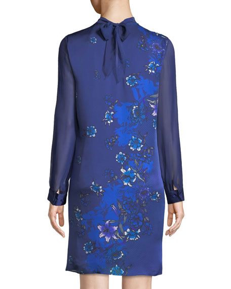 Malaysia Floral-Print Long-Sleeve Silk Dress