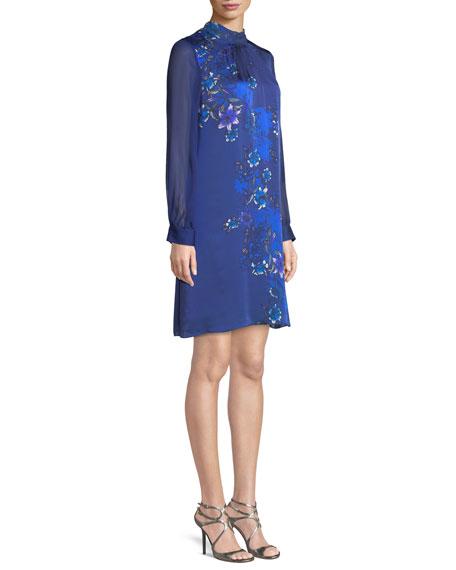 Malaysia Floral-Print Long-Sleeve Silk Dress
