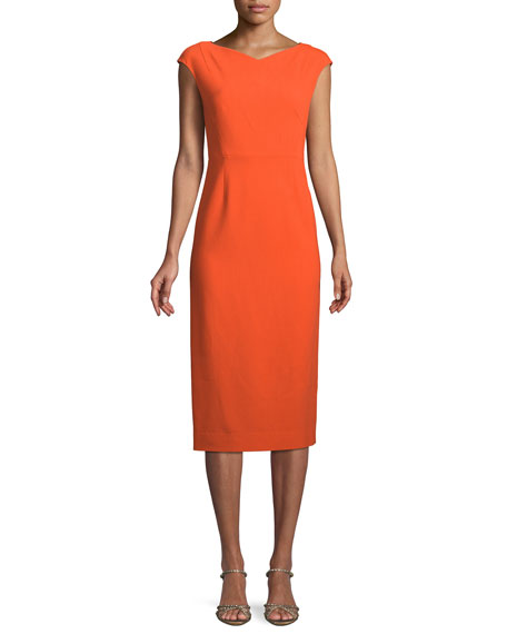 Cap-Sleeve Midi-Length Sheath Dress