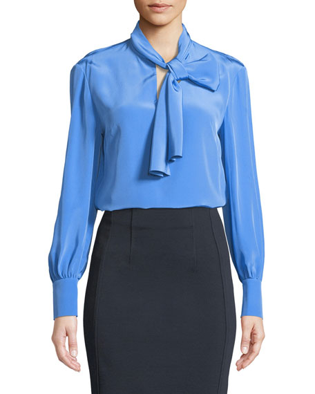 Diane von Furstenberg High Neck Long-Sleeve Silk Bow