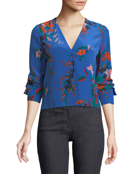 Long-Sleeve Floral-Print Silk Blouse