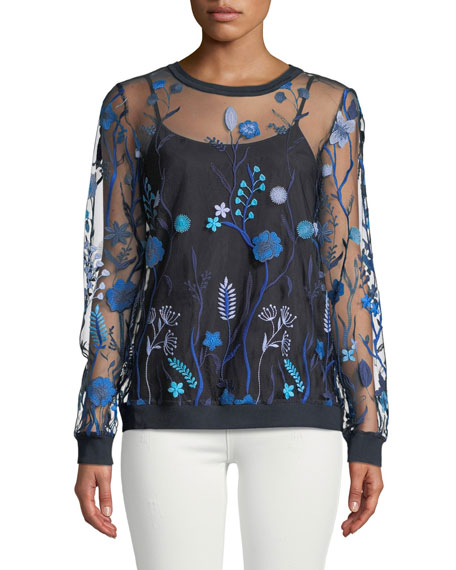 Elie Tahari Val Floral-Embroidered Tulle Blouse