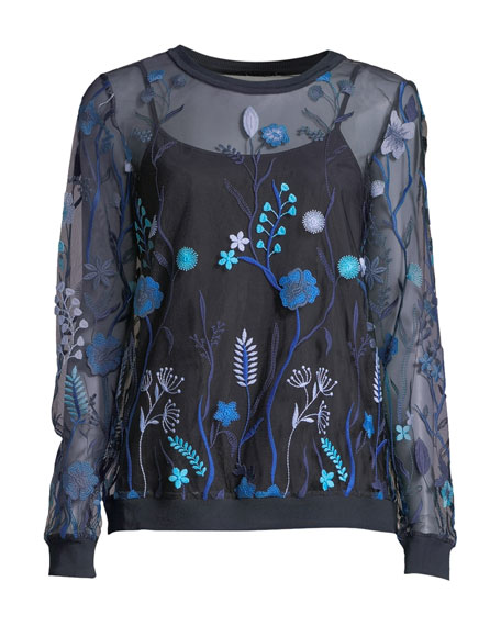 Val Floral-Embroidered Tulle Blouse