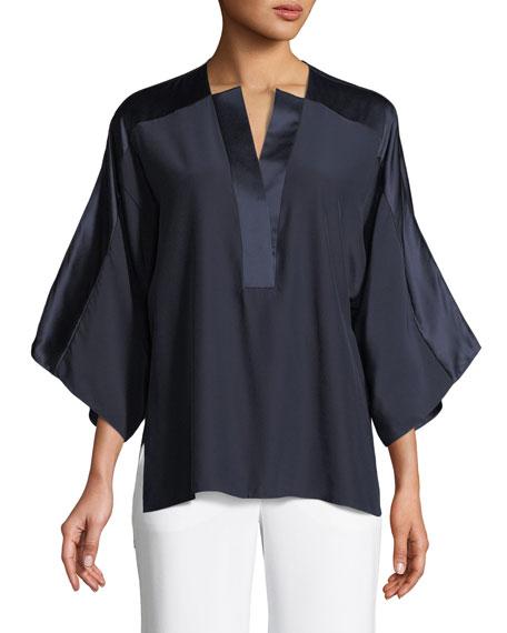 Elie Tahari Nolia Silk-Trim Blouse and Matching Items