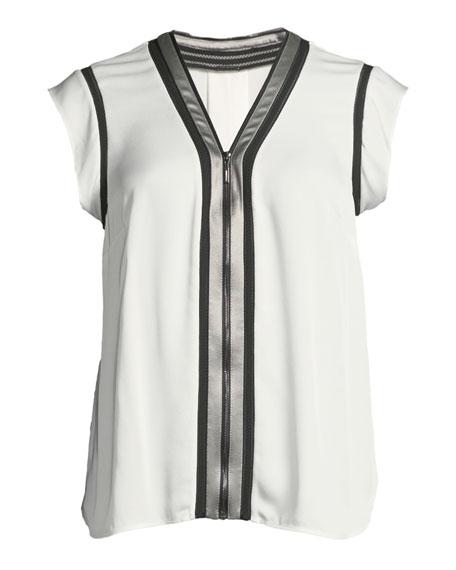 Vallie Zip-Front Silk Blouse
