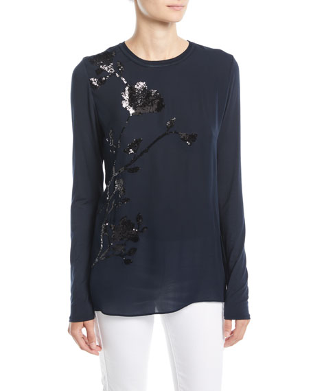 Elie Tahari Jayln Silk Blouse with Sequin Stargazer