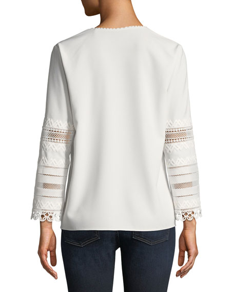 Elvira Eyelet-Lace-Sleeve Blouse