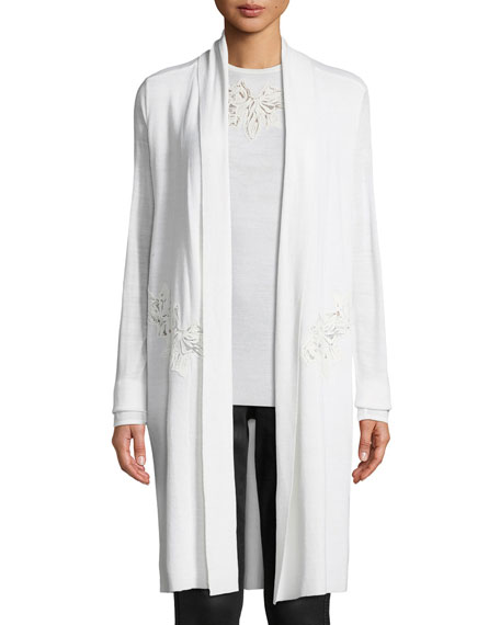 Elie Tahari Gharett Open-Front Embroidered Sweater