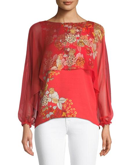 Elie Tahari Malika Floral-Print Silk Blouse