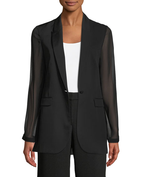 Elie Tahari Jovana One-Button Sheer-Sleeve Jacket and Matching