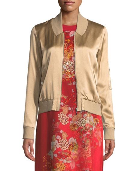 Brandy Silk Satin Bomber Jacket