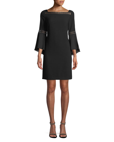 Esmarella Ladder-Stitch Bell-Sleeve Dress