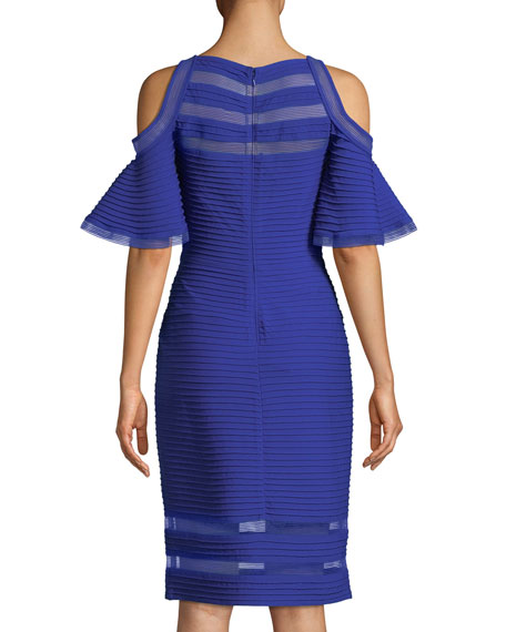 Carlyn Cold-Shoulder Ruffle-Sleeve Cocktail Dress