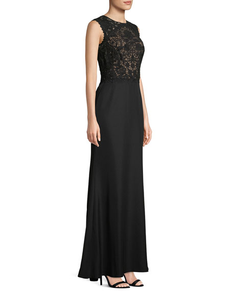Sleeveless Lace & Crepe Gown