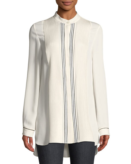 Sydney Pleated-Bib Silk Tunic
