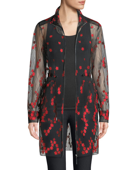 Nicolette Embroidered Sheer Zip-Front Coat