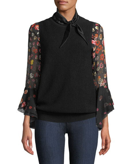 Jillianna Pansy Floral-Print Silk Blouse