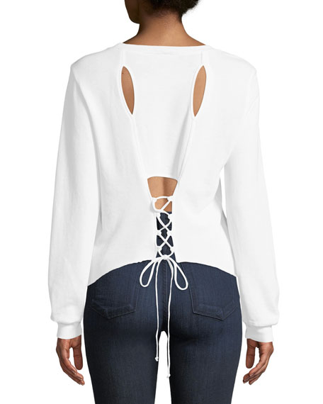Corset-Back Long-Sleeve Pullover Top