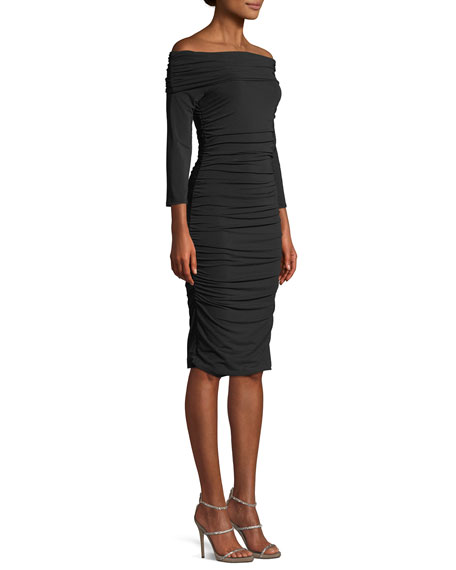 Naomie Off-the-Shoulder Ruched Sheath Dress