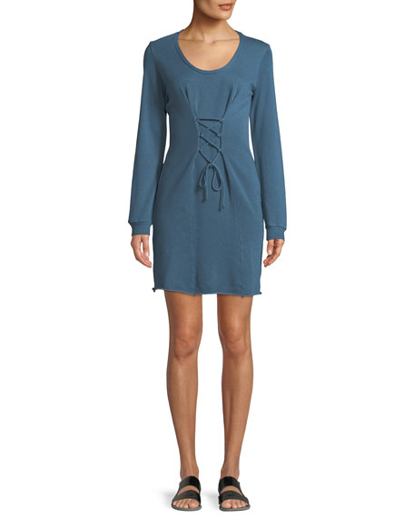 Lanston Corset Long-Sleeve Mini Dress