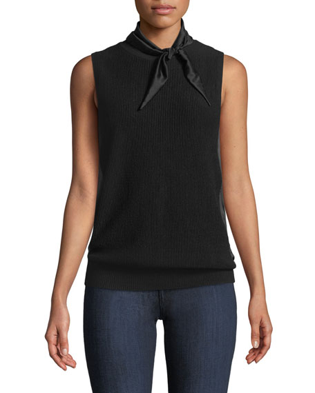 Elie Tahari Skyla Sleeveless Satin-Trim Wool Sweater