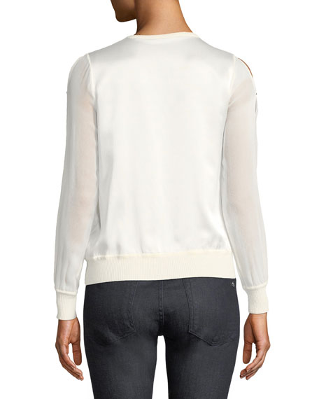Maria Chiffon-Sleeve Sweater