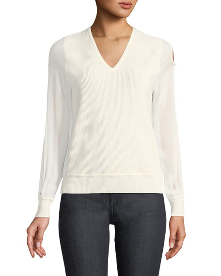 Maria Chiffon-Sleeve Sweater