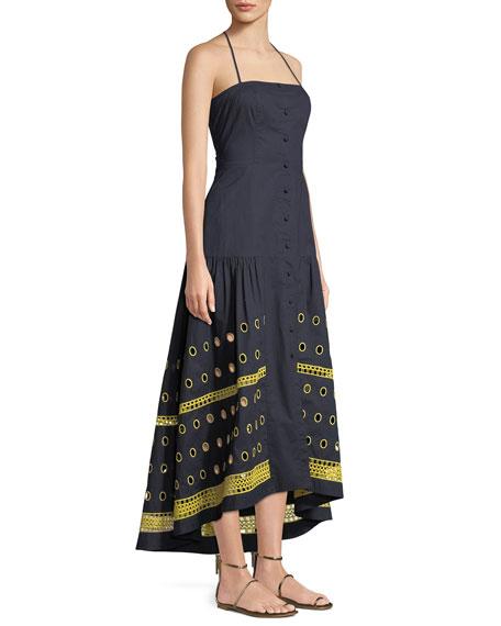 Renee Halter Button-Down Linen-Blend Dress w/ Graphic Eyelet-Hem
