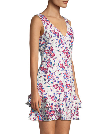 Tatum Ditsy Floral-Print V-Neck Sleeveless Cotton Eyelet Dress