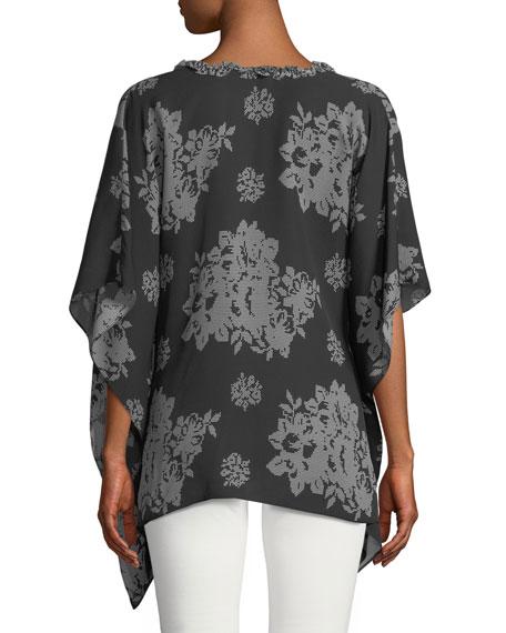 Shaine Needlepoint-Print Silk Blouse