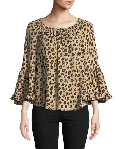 Parisa Leopard-Print Silk Blouse