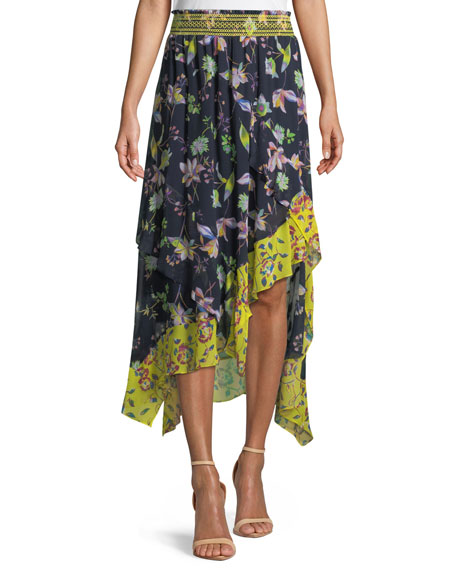 Esmee Silk Garden-Print High-Low Skirt