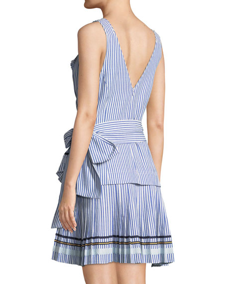 Arabella Striped Sleeveless Wrap Dress