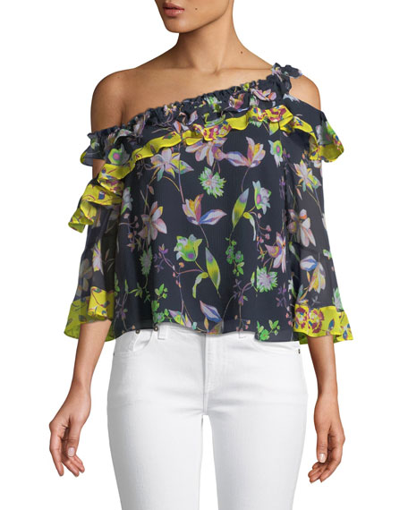 Violet Garden-Print Off-the-Shoulder Silk Top