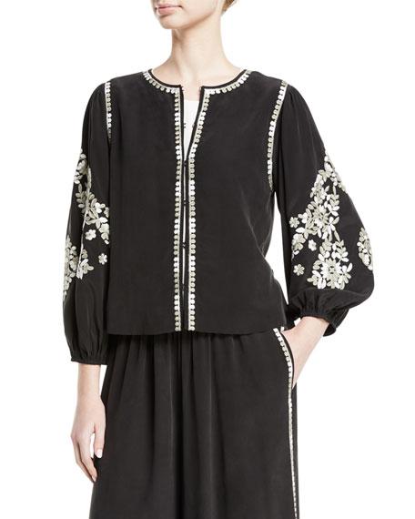 Heidi Floral-Embroidered Jacket