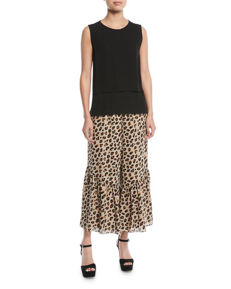 Leah Bell-Hem Animal-Print Silk Pants