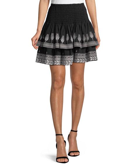 Kobi Halperin Geonna Smocked-Waist Tiered Skirt
